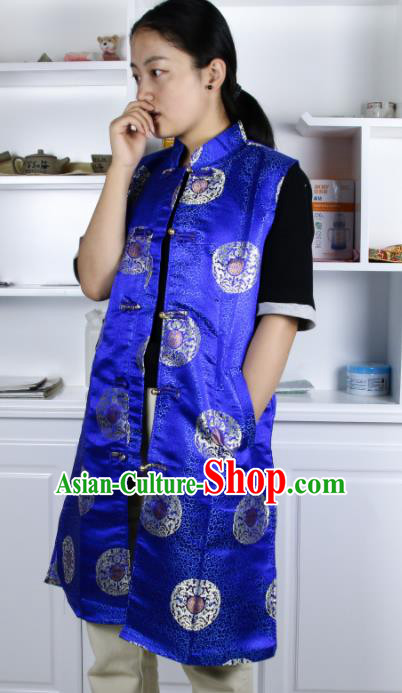 Chinese Traditional National Ethnic Royalblue Tibetan Vest Zang Nationality Costume for Women