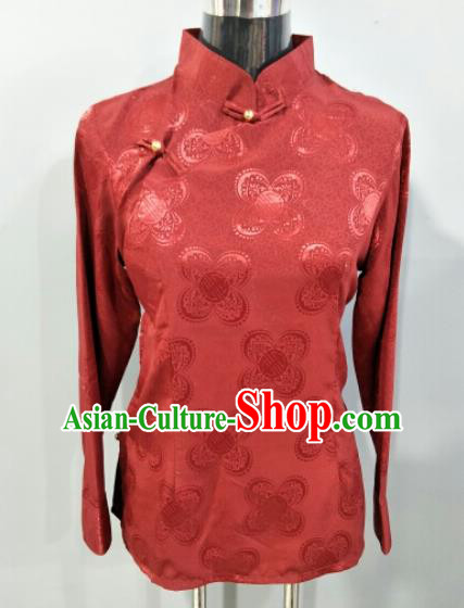 Traditional Chinese National Ethnic Tibetan Deep Red Blouse Zang Nationality Folk Dance Costume for Women