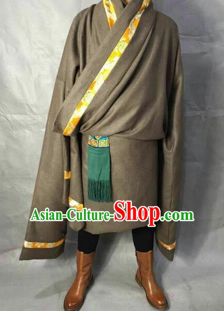 Traditional Chinese National Ethnic Tibetan Robe Zang Nationality Folk Dance Costumes for Men