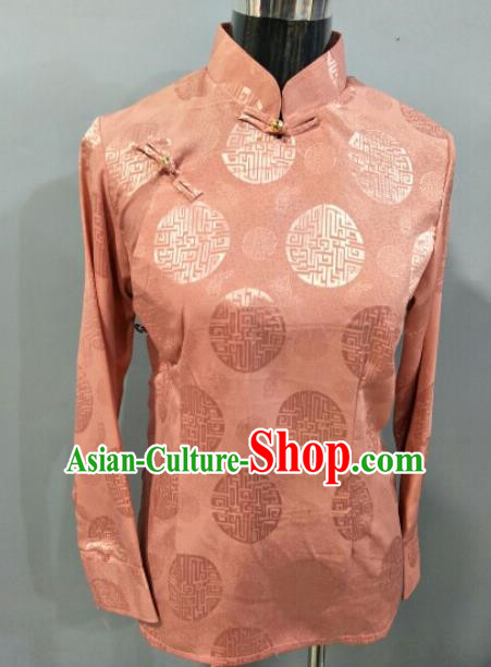 Traditional Chinese National Ethnic Tibetan Pink Blouse Zang Nationality Folk Dance Costume for Women