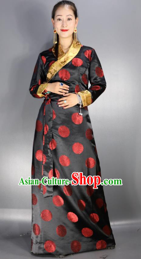 Traditional Chinese National Ethnic Black Brocade Tibetan Dress Zang Nationality Folk Dance Costume for Women