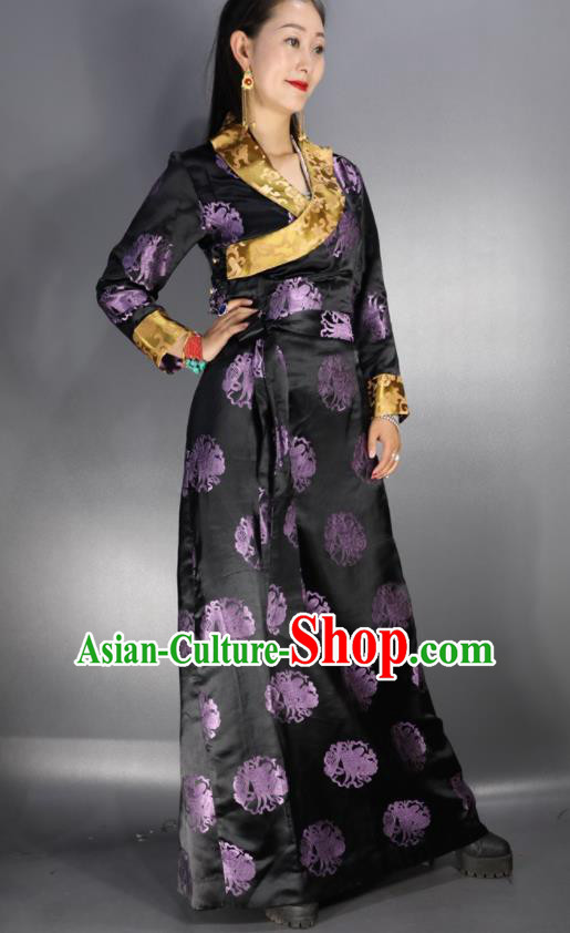 Traditional Chinese National Ethnic Brocade Tibetan Dress Zang Nationality Folk Dance Costume for Women