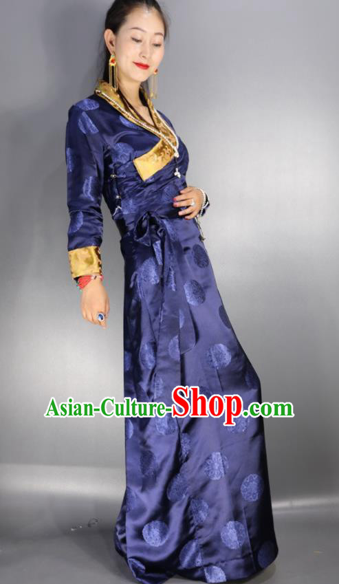 Traditional Chinese National Ethnic Royalblue Brocade Tibetan Dress Zang Nationality Folk Dance Costume for Women