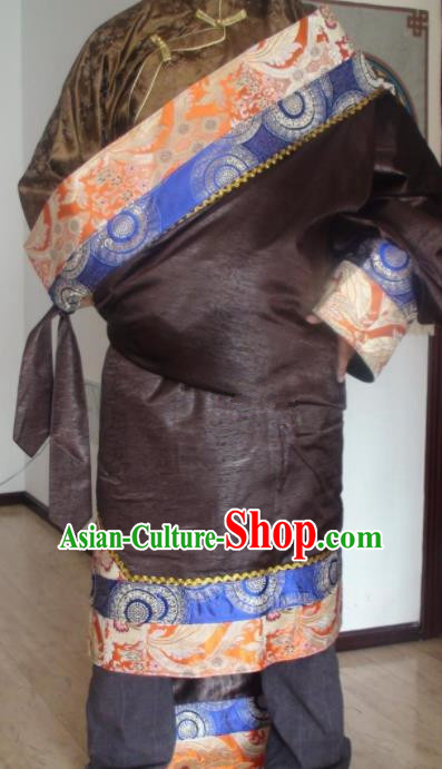 Traditional Chinese National Ethnic Deep Brown Tibetan Robe Zang Nationality Folk Dance Costumes for Men