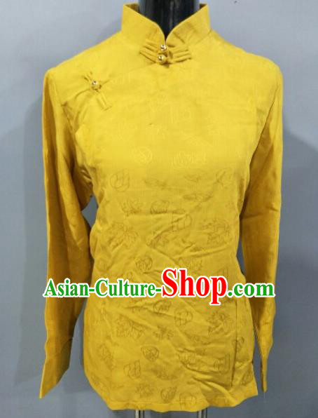 Traditional Chinese National Tibetan Ethnic Yellow Blouse Zang Nationality Folk Dance Costume for Women