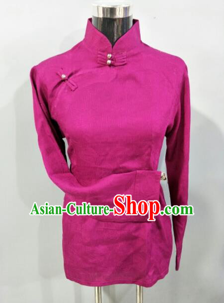 Traditional Chinese National Tibetan Ethnic Rosy Blouse Zang Nationality Folk Dance Costume for Women