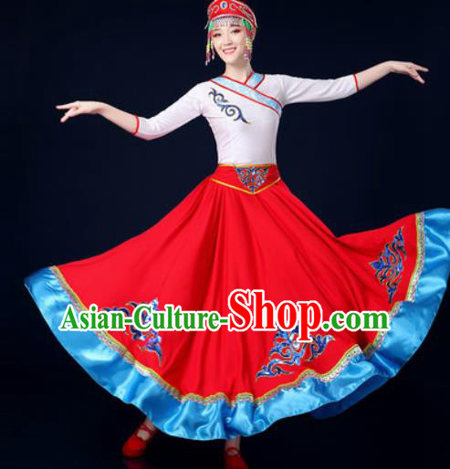 Traditional Chinese Ethnic Folk Dance Red Dress Mongolian Nationality Stage Performance Costume for Women