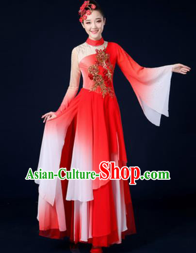Traditional Chinese Classical Dance Red Veil Dress Umbrella Dance Stage Performance Costume for Women