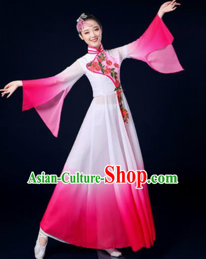 Chinese Traditional Classical Dance Rosy Dress Umbrella Dance Stage Performance Costume for Women
