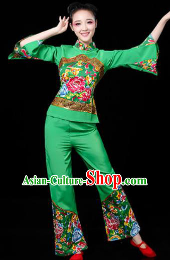 Traditional Chinese Folk Dance Printing Green Clothing Yangko Dance Fan Dance Costume for Women