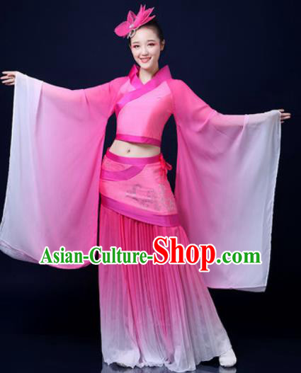 Traditional Chinese Classical Dance Pink Dress Umbrella Dance Stage Performance Fan Dance Costume for Women