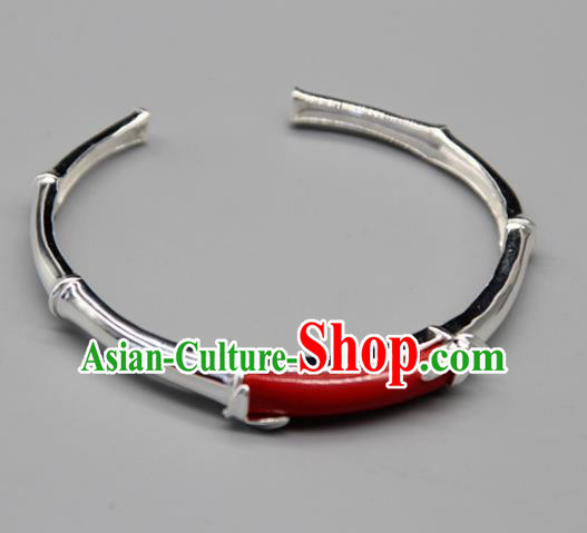 Chinese Traditional Tibetan Ethnic Red Stone Bracelet Accessories Handmade Zang Nationality Sliver Bangle for Women