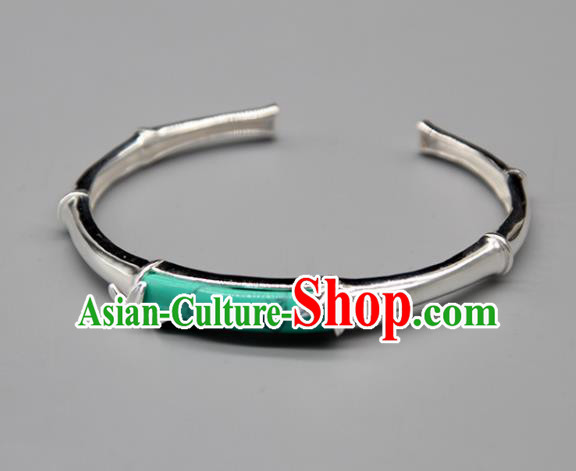 Chinese Traditional Tibetan Ethnic Kallaite Bracelet Accessories Handmade Zang Nationality Sliver Bangle for Women