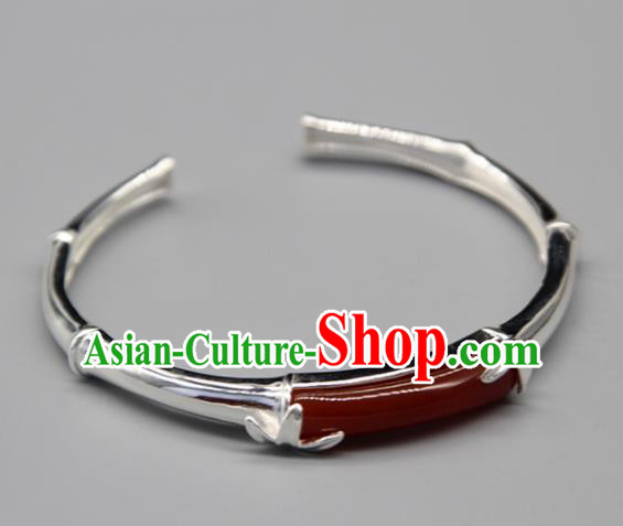 Chinese Traditional Tibetan Ethnic Agate Bracelet Accessories Handmade Zang Nationality Sliver Bangle for Women