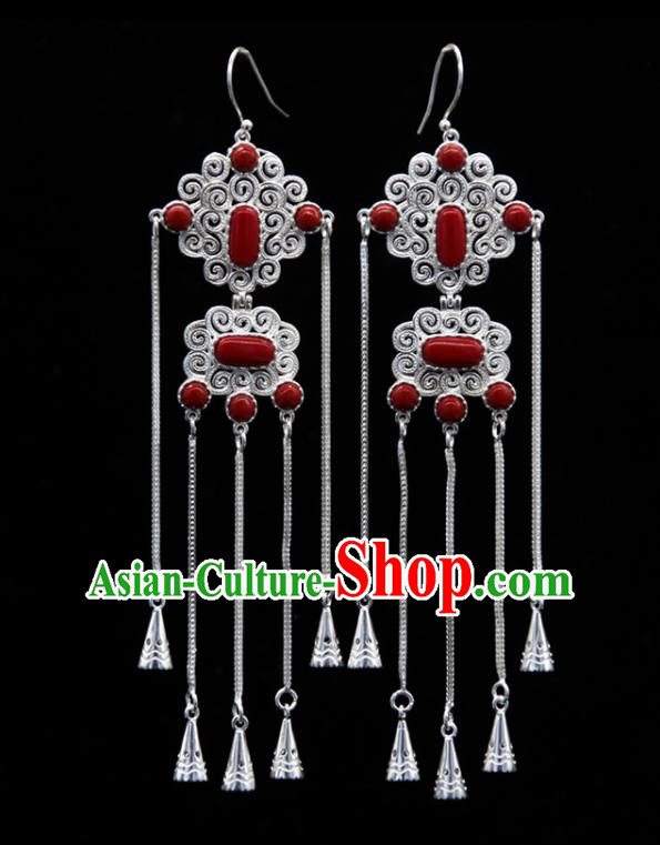 Chinese Traditional Ethnic Wedding Ear Accessories Mongol Nationality Handmade Red Stone Tassel Earrings for Women