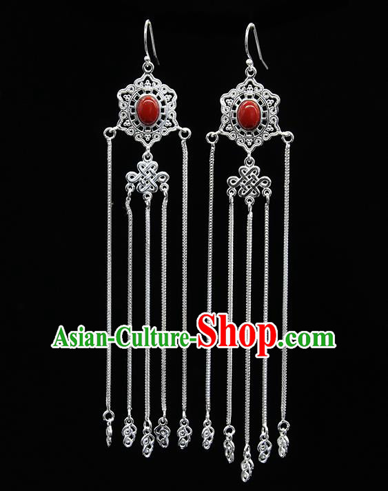 Chinese Traditional Mongolion Ethnic Wedding Sliver Tassel Ear Accessories Mongol Nationality Red Earrings for Women