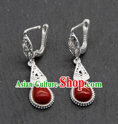 Chinese Traditional Ethnic Wedding Red Ear Accessories Mongolion Nationality Earrings for Women