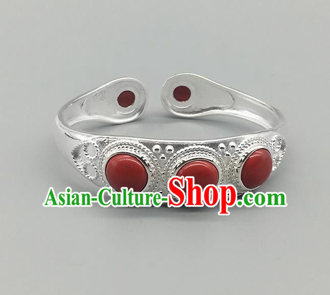 Chinese Traditional Ethnic Red Bracelet Handmade Mongolian Nationality Sliver Bangle for Women