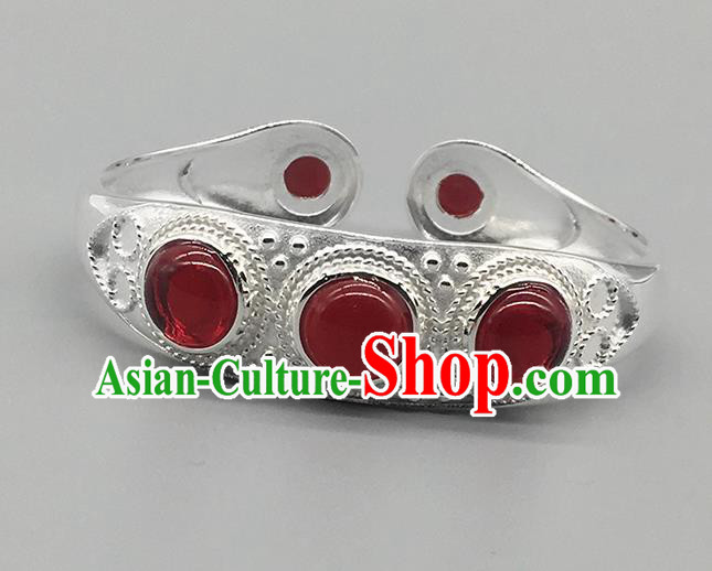 Chinese Traditional Ethnic Agate Bracelet Handmade Mongolian Nationality Sliver Bangle for Women