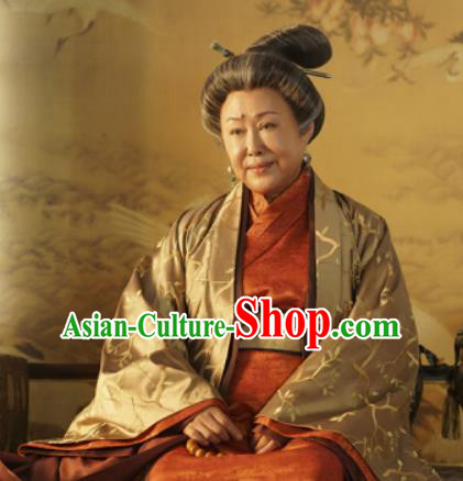 Chinese Ancient Drama Empress Dowager Embroidered Replica Costume Tang Dynasty Queen Mother Hanfu Dress for Women
