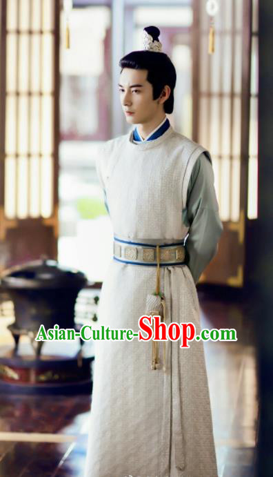Chinese Ancient Drama Tang Dynasty Swordsman Prince Embroidered Replica Costume for Men