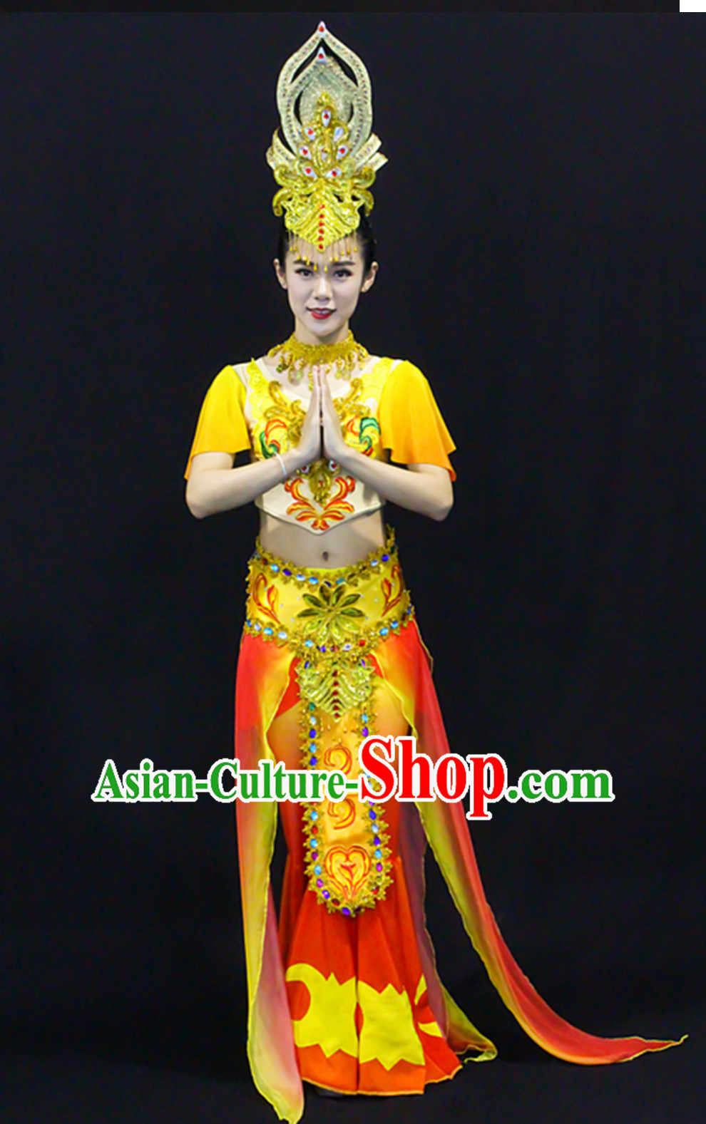 Asian Classical White Tara Deity Costume and Accessories Complete Set