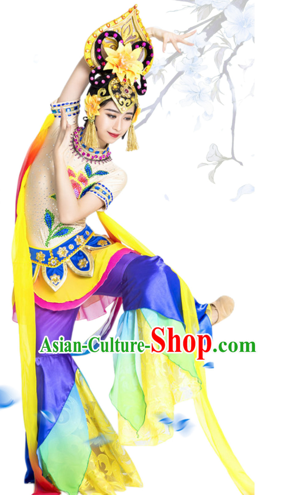 Traditional White Tara Deity Costumes and Head Wear Accessories Complete Set