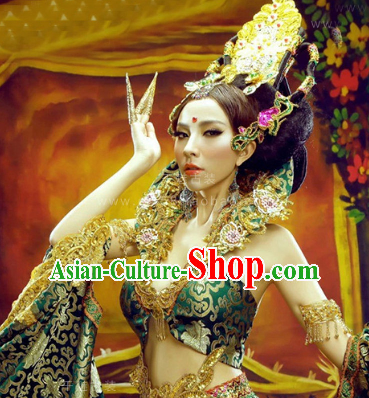 Traditional Green Tara Deity Costumes and Head Wear Accessories Complete Set