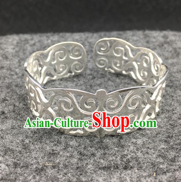 Traditional Chinese Mongolian Ethnic Bracelet Mongol Nationality Sliver Bangle Accessories for Women