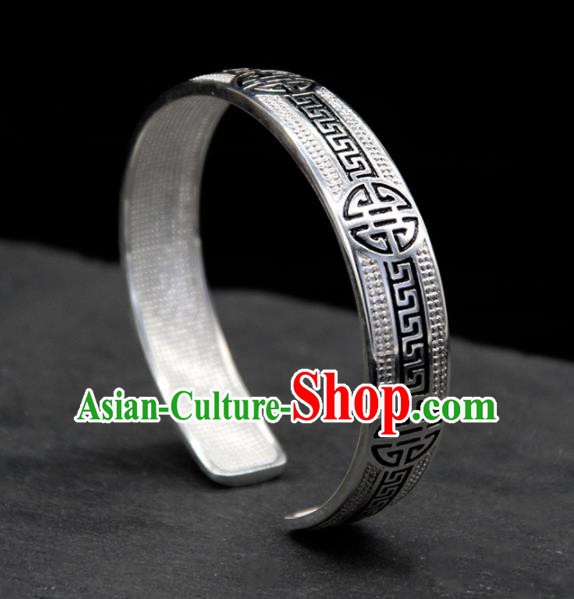 Traditional Chinese Mongolian Ethnic Carving Sliver Bracelet Mongol Nationality Bangle Accessories for Women