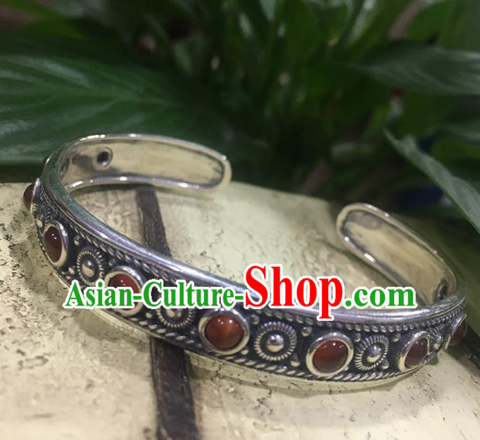 Traditional Chinese Mongolian Ethnic Carving Sliver Bracelet Mongol Nationality Garnet Bangle Accessories for Women