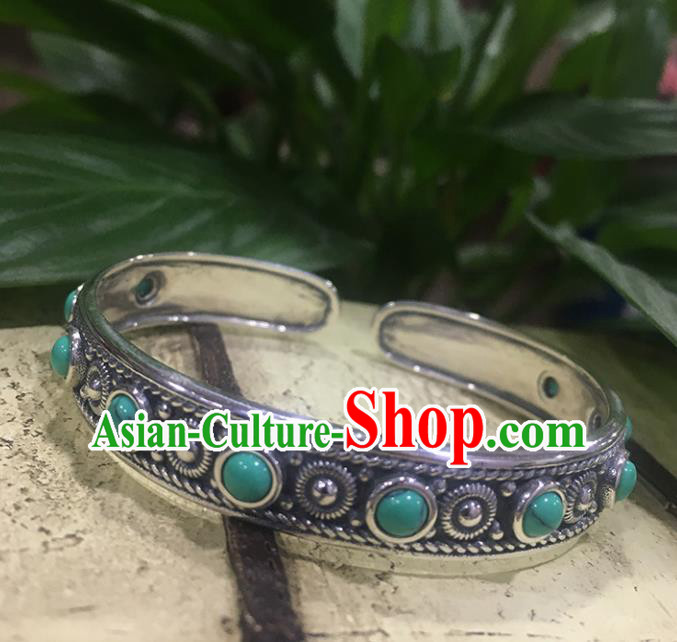 Traditional Chinese Mongolian Ethnic Carving Sliver Bracelet Mongol Nationality Kallaite Bangle Accessories for Women