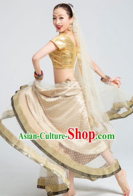 Asian India Traditional Bollywood Costumes South Asia Indian Belly Dance Golden Dress for Women