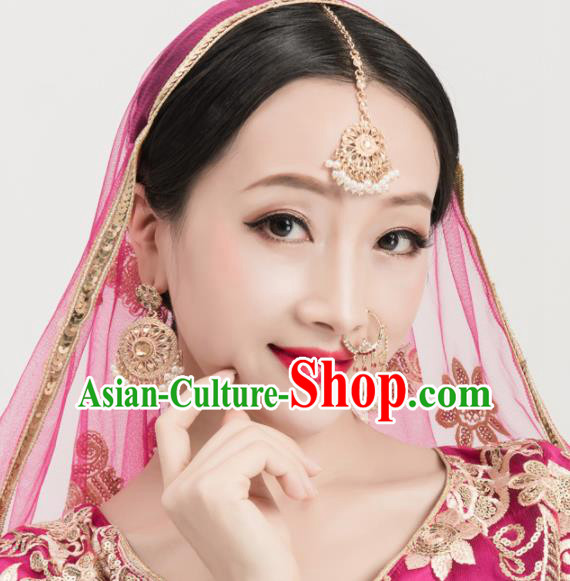 Asian India Traditional Jewelry Accessories Eyebrows Pendant Hair Clasp Nose Studs and Earrings for Women