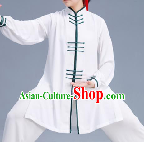 Asian Chinese Martial Arts Wushu Costume Traditional Tai Ji Kung Fu Training White Uniform for Women