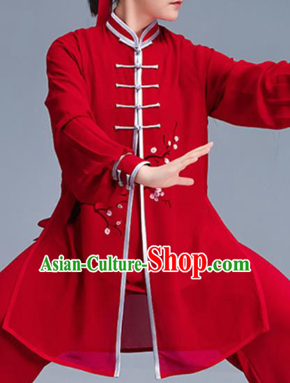 Asian Chinese Martial Arts Wushu Costume Traditional Tai Ji Kung Fu Training Red Uniform for Women