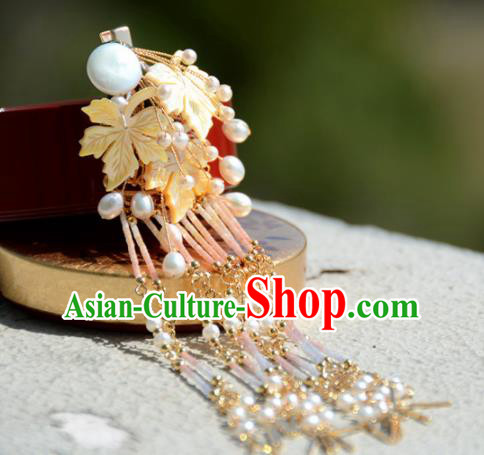 Traditional Chinese Hanfu Golden Maple Hair Claw Hair Accessories Ancient Princess Hairpins for Women