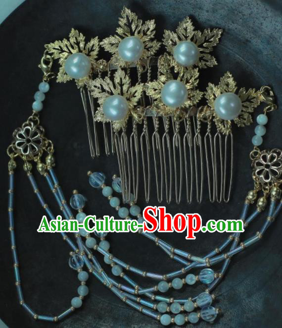 Traditional Chinese Hanfu Maple Leaf Tassel Hair Comb Hair Accessories Ancient Princess Hairpins for Women