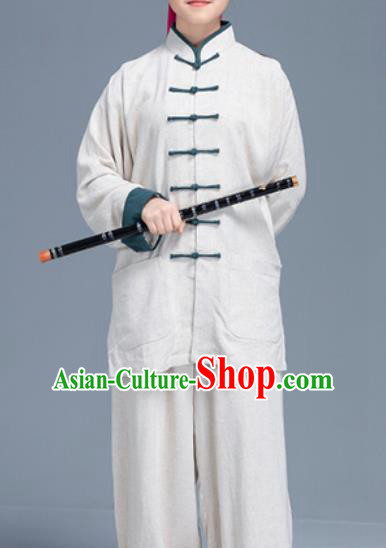 Asian Chinese Traditional Martial Arts White Linen Costume Tai Ji Kung Fu Training Uniform for Women