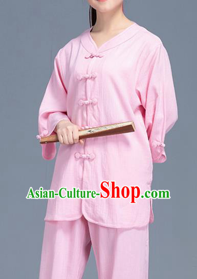 Asian Chinese Traditional Martial Arts Pink Linen Costume Tai Ji Kung Fu Training Uniform for Women
