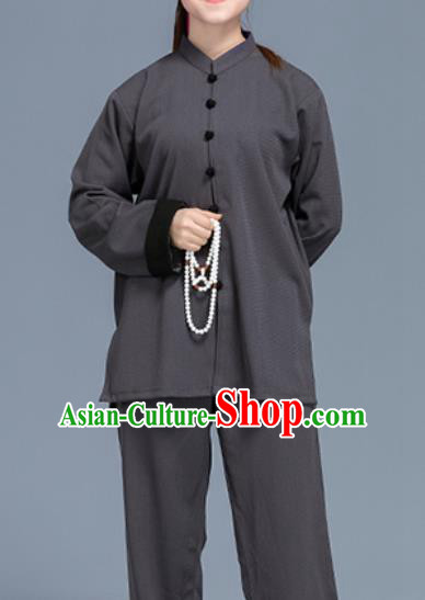 Asian Chinese Traditional Martial Arts Costume Tai Ji Kung Fu Training Grey Linen Uniform for Women