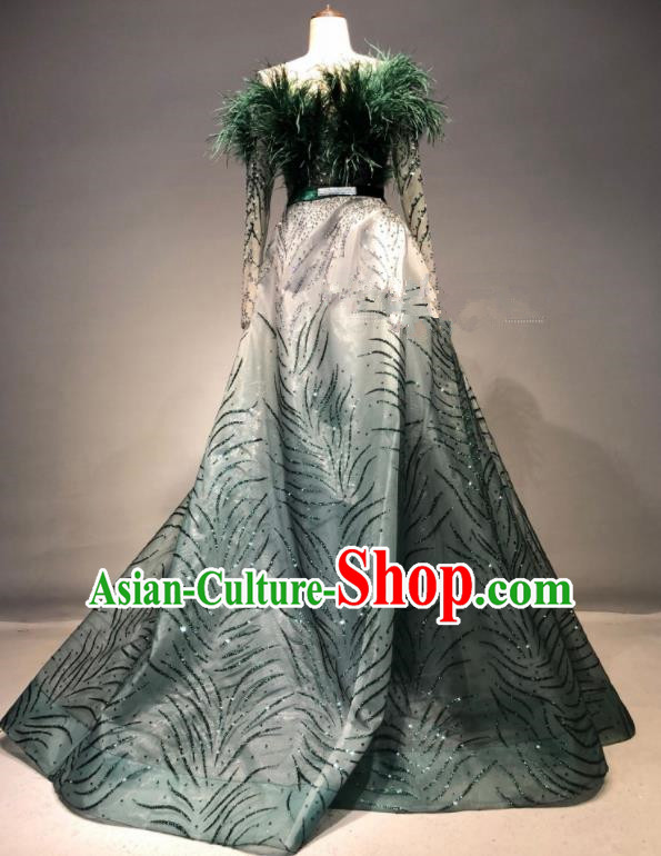 Top Grade Stage Performance Green Dress Brazilian Carnival Modern Fancywork Costume for Women