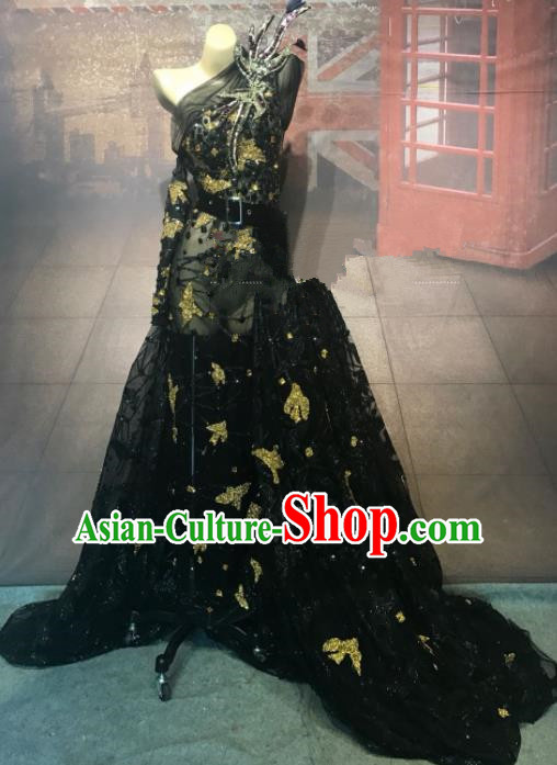 Top Grade Stage Performance Black Veil Full Dress Brazilian Carnival Modern Fancywork Costume for Women