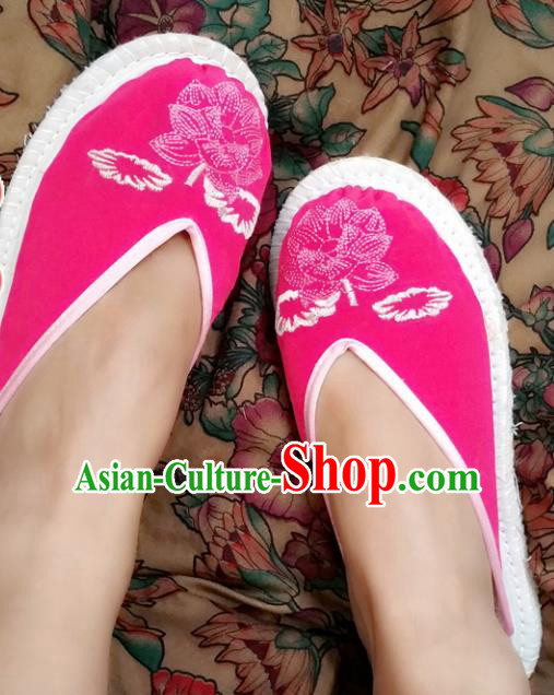 Chinese Ancient Princess Cloth Slippers Traditional Embroidered Lotus Rosy Shoes Hanfu Shoes for Women