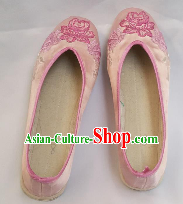 Chinese Ancient Princess Shoes Traditional Cloth Shoes Hanfu Shoes Pink Embroidered Peony Shoes for Women