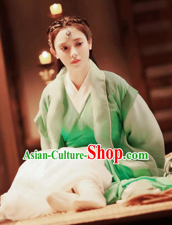Chinese Traditional Ancient Princess Hanfu Dress Tang Dynasty Swordswoman Historical Costume and Headpiece for Women