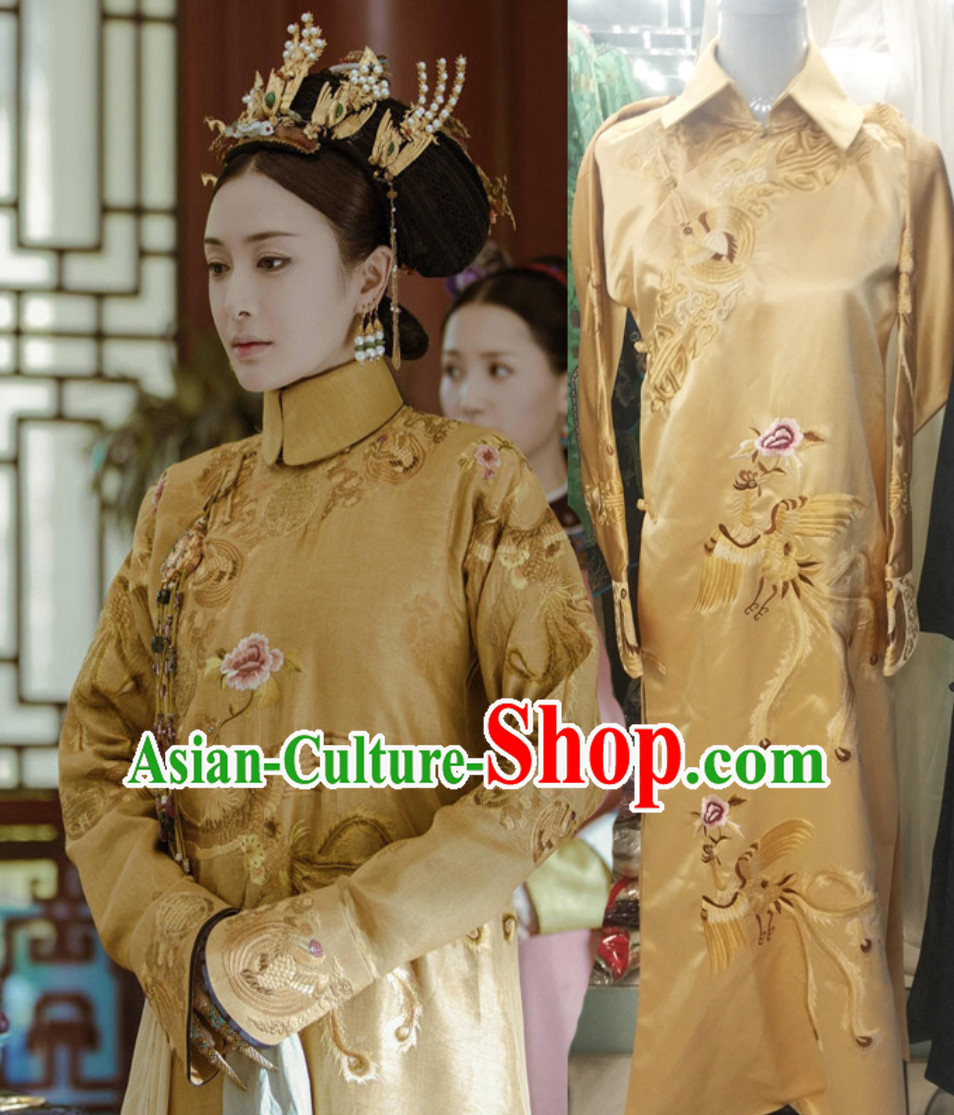 Qing Dynasty Empress Garment Long Robe Clothing for Women