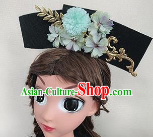 Chinese Handmade Qing Dynasty Princess Hair Accessories Ancient Palace Blue Peony Hair Clasp for Women