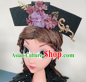 Traditional Chinese Qing Dynasty Princess Purple Flowers Hair Accessories Handmade Ancient Hair Clasp for Women