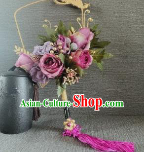 Chinese Traditional Wedding Palace Fans Ancient Bride Purple Roses Phoenix Round Fans for Women